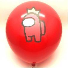 Воздушные шары Among Us 30 см красный персонаж