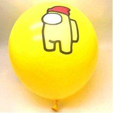 Воздушные шары Among Us 30 см желтый персонаж