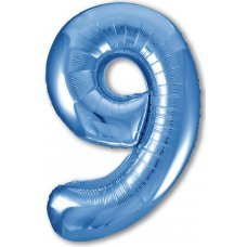 """Воздушный шар """"Цифра 9"""" 40''/102 см синий"""
