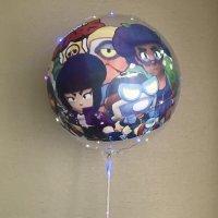 Светящийся воздушный шар Brawl Stars со светодиодами LED на палочке
