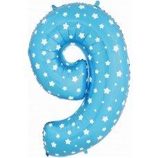"""Воздушный шар """"Цифра 9 Звездочки"""" 40''/102 см синий"""