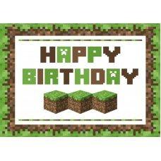 """Открытка Майнкрафт """"Happy Birthday"""""""