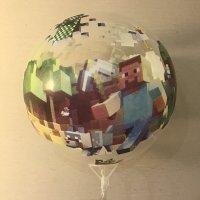 Светящийся воздушный шар Майнкрафт со светодиодами LED на палочке