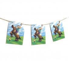 """Гирлянда-флажки """"Стив на лошади"""" Minecraft"""