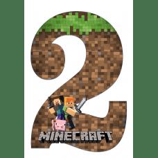 """Плакат """"Цифра 2"""" А3 Майнкрафт"""