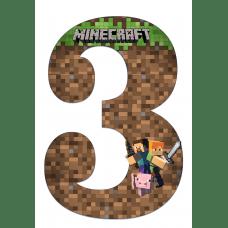 """Плакат """"Цифра 3"""" А3 Майнкрафт"""