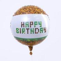 """Воздушный шар фольгированный """"Happy Birthday"""" Minecraft 18""""/46 см"""