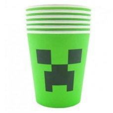 """Бумажные стаканы Minecraft Creeper """"Крипер"""" - 6 шт."""