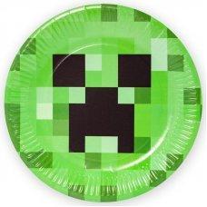 """Бумажные тарелки Minecraft """"Крипер"""" - 6 шт."""