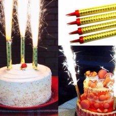 Набор свечей Фонтан для торта, Золото, 10 см, 6 шт.