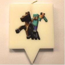 """Свеча для торта Майнкрафт """"Стив в алмазной броне"""" Minecraft"""