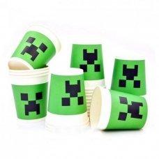 """Бумажные стаканы Minecraft Creeper """"Крипер"""" - 10 шт."""