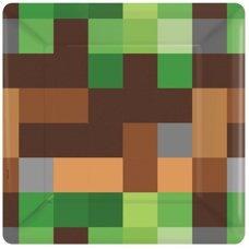 """Бумажные тарелки Minecraft """"TNT Party Пиксели"""" - 8 шт."""